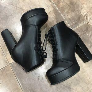 H&M Black Faux Leather Platform Booties 6